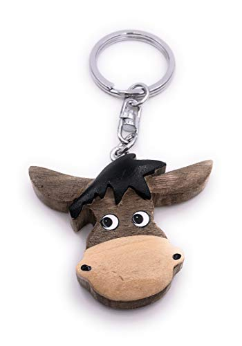 H-Customs Esel Kopf Pferd Holz Edel Handmade Schlüsselanhänger Anhänger