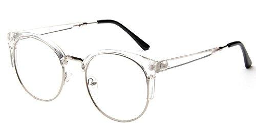 BOZEVON Unisex Cateye klare Linse Brille Katzenauge Metal-Bügel Klassische Retro Brillen Fashion Glasses Frauen & Männer, Weiß/Transparent