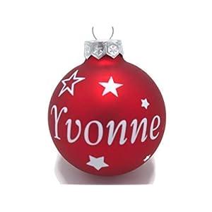 Weihnachtskugel mit Name aus Glas 6cm Wunschtext Rot Matt