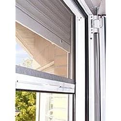 Kit de alta calidad de mosquitera enrollable de aluminio para ventana de 120 x 120 cm. color blanco RAL 9010