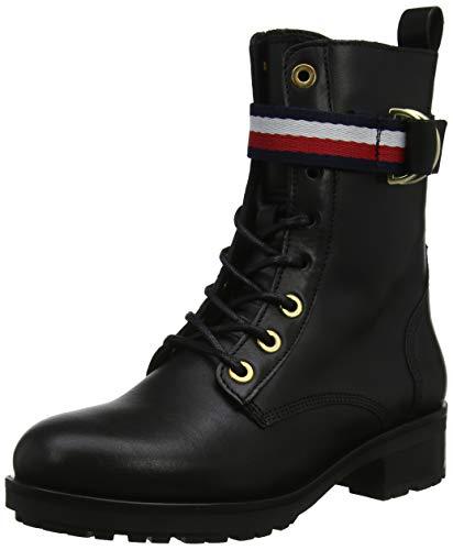 Tommy Hilfiger Damen Corporate Ribbon BIKERBOOT Stiefeletten, Schwarz (Black 990), 39 EU