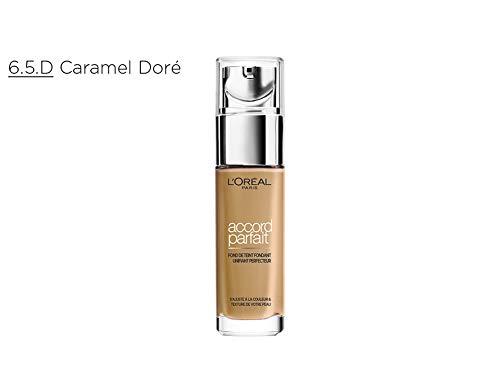 L'Oréal Paris - Fond de Teint Fluide Accord Parfait - Peaux Sèches à Normales - Teinte : Caramel Doré (6.5.D) - 30 ml