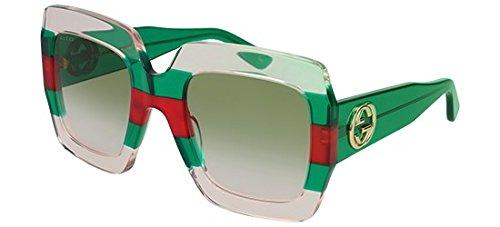 Gucci donna gg0178s 001 occhiali da sole, multicolore (1/green), 54