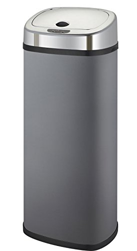 KITCHEN MOVE BAT-42LS02A Poubelle de Cuisine Automatique Forme Carré, Acier Inoxydable, Gris Mat, 32 x 25 x 64 cm