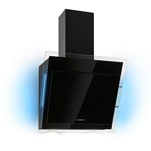 KlarsteinMirage 60 - Campana extractora, Vidrio de seguridad, 3 niveles depotencia, Extracción de salida 550 m³/h, LED multicolor, Eco-Excelencia, Juego de montaje completo, Negro