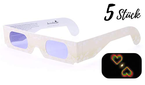 Die Herzbrille Champagner (5 Stück) - Herzchen sehen in jedem Licht: Perfekt für Hochzeiten & Partys