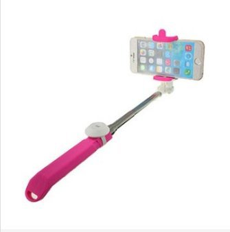MASUNN Integrato Android Ios Sistema Palmare Selfie Stick Otturatore Bluetooth Estensibile Monopiede Per Telefono-Rosa Rossa