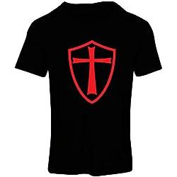 lepni.me Camiseta Mujer Caballeros Templarios - Escudo de los Templarios (Small Negro Rojo)
