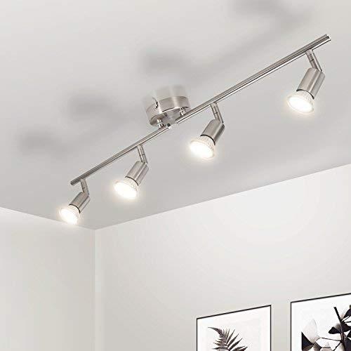 Gr4tec Lámpara de techo LED Plafón con Focos Giratorios 4X Bombillas GU10...