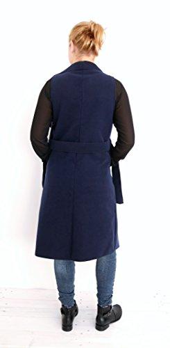 Stylische Damen Filz Weste Revers Mantel Ärmellos Trench Long Jacke One Size M L XL 40 42 44 (8333) Blau