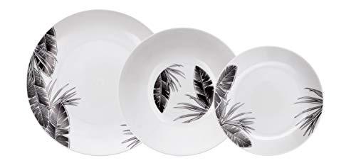 Bidasoa Tropiko Vajilla de porcelana para 6 personas, 18 piezas, Blanca con decorados en negro,
