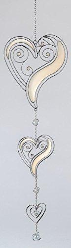 Formano Moderne Deko für Fenster Herz-Hänger Fensterdeko Dekohänger Glasbild zum aufhängen Tiffany Weiß/Silber 58cm Groß