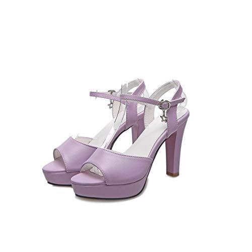 MENGLTX High Heels Sandalen Große Größe 34-43 Sandalen Damen Plattformen Dame Mode Kleid Schuhe Offene Zehen-Sohle Schuh High Heel Schuhe Frauen Pumpen 209 10 Lavendel (Lavendel-kleid-schuhe)
