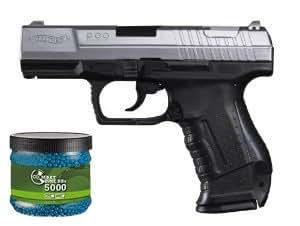 Set: Walther P99bicolore avec chargeur de rechange pistolet Airsoft à ressort 6mm BB Bleu 0,5J + Umarex Combat Zone Tir Airsoft 6mm 0,12g 5000BBS