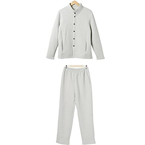 DMMSS Stand pour hommes col feuillet¨¦ coton tiss¨¦ pyjama Set , cigarette ash , xxl