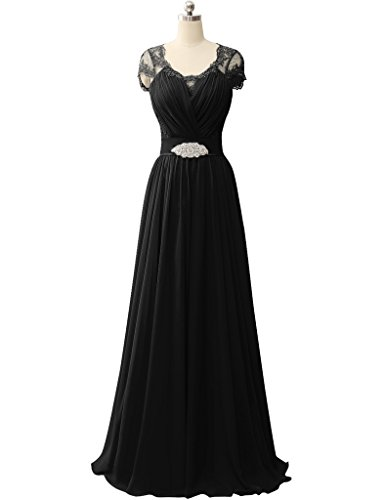 HUINI Spit ?rmel V-Ausschnitt Chiffon Prom Abendkleider Hochzeit Formale Partei Kleider Schwarz