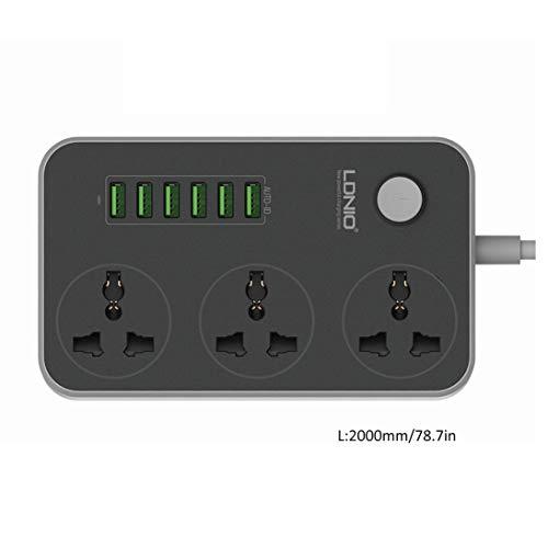 WEIHAN 3 Steckdosen 6 USB-Anschlüsse USB-Steckdosenleiste Smart Home-Buchse Überspannungsschutz Schnellladung Home Extension Patch Board EU/US/UK - Outlet Laptop-Überspannungsschutz