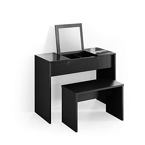 Vicco Schminktisch MIA 76 x 100 cm schwarz mit Sitzbank- Frisiertisch Kommode Spiegel +++ Schminkkommode mit Schubfach und einklappbaren Spiegel +++ (Schminktisch mit Bank) (Schwarz)