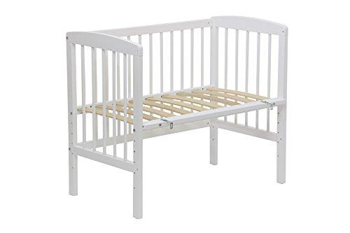 Polini Kids Beistellbett Simple 100 weiß aus Naturholz mit Matratze 90 x 50 cm