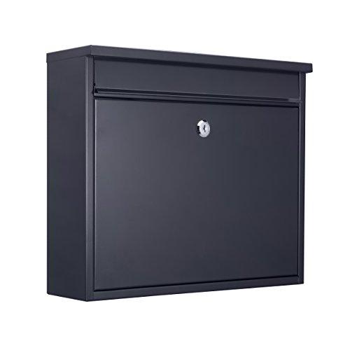 MARI HOME Wandmontierter A4 Briefkasten | Größe L, Stahl, Für den Außenbereich | Briefkasten mit verschließbarer Tür und 2 Schlüssel | Dim. 36 x 31.5 x 11.5 cm | 33.5 x 3.5 cm Vordere Klappe | Schwarz