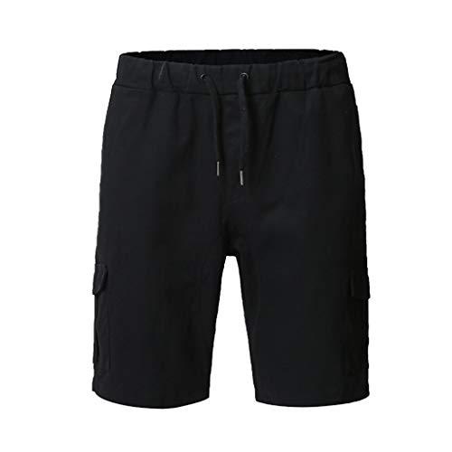 Sonnena Herren Strandshort Casual Plus Größe Schnell trocknend Sports Gummiband Gemütlich Kurze Hose Multi-Pocket Reißverschluss Volltonfarbe Freizeithosen Laufhose Cargo Pant -
