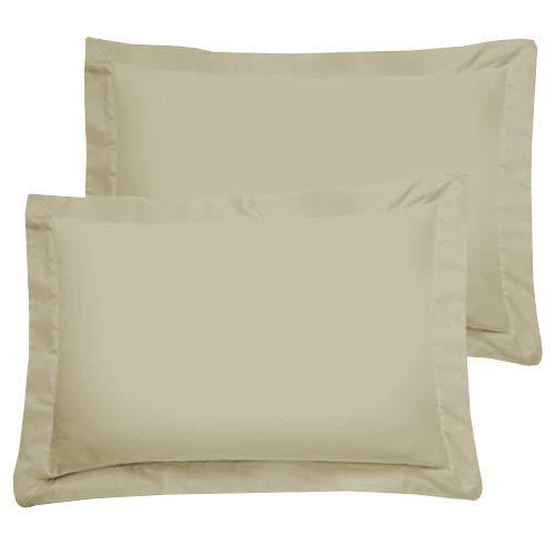 American Luxus-Kissenbezug aus ägyptischer Baumwolle 2 Stücke Standard Ivory - Solide 300 Thread Count -