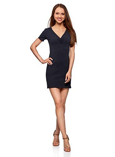 oodji Ultra Damen Enges Kleid mit V-Ausschnitt, Blau, DE 38 / EU 40 / M