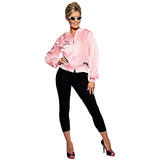 Smiffys Women's Grease Pink Ladies Jacket, Size:S, Colour: Pink, 28385S