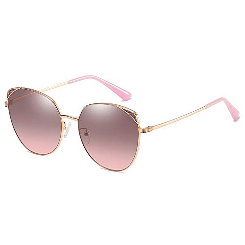 Polarised Sonnenbrillen Sonnenbrille Frauen Übergröße, Vintage Mirrored Aviator Sonnenbrille für Frauen Metallrahmen, UV400, Outdoor-Reisen Fahren Gläser (Farbe : Roségold, größe : 148x142mm)