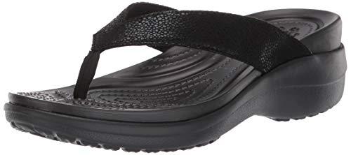 crocs Damen Capri Metallictxt Wedge Flip W Clogs, Schwarz Black 060b, 41/42 EU
