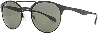 Ray-Ban Doble puente de gafas de sol redondas Metal negro polarizado RB3545 186/9A 51