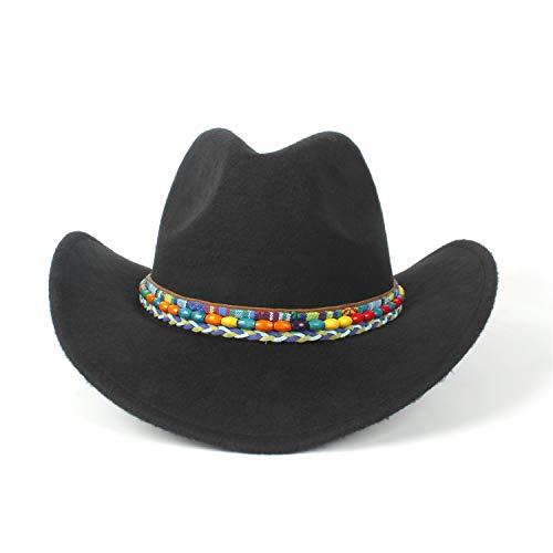 men Wollfilz Western Cowboy-Hut, geeignet für breitkrempige Cowgirl-bunte geflochten mit farbigen Perlen (Farbe : Schwarz, Größe : 56-59cm) ()