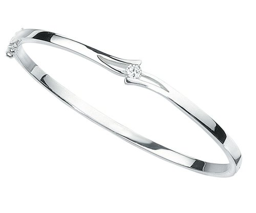 Elements Silver B937C Ladies' Cubic Zirconia Asymetrical Flip Top Sterling Silver Bangle