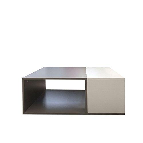 Symbiosis 2300A0100X00 Contemporain Table Basse Bivolume Blanc/Taupe 89 x 67 x 34 cm