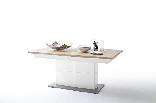 Dreams4Home Esstisch 'Tyson' – Tisch, Esstisch, Holztisch, Küchentisch, ausziehbarer Tisch, inkl. 2 Einlegeplatten ( je 50 cm ) B/H/T: 180 ( 280 ) x 77 x 100