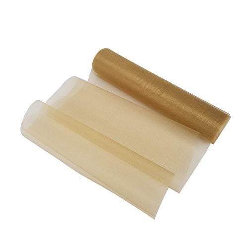 Weddecor Organza-Rolle, 25 m x 29 cm, glitzernd, für Hochzeitsdekoration, Stuhl- und Tischrücken, Schleifen, Gardinen, Schärpen, Weiß champagnerfarben/goldfarben
