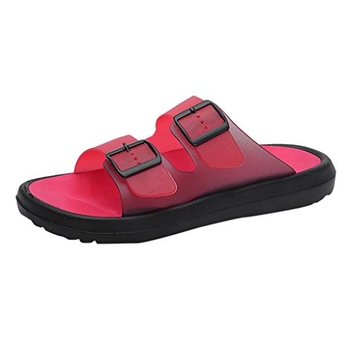 Fenverk Männer Frauen Unisex Atmungsaktive Hausschuhe Strand Aushöhlen Sandalen Outdoor Sports Casual Sommer Schuhe Komfortable Herren(Red,43)