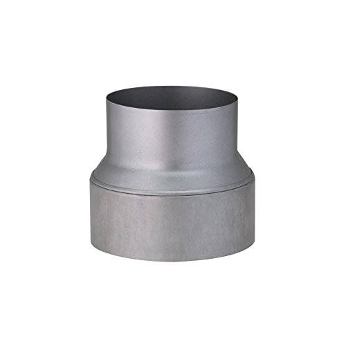 Ofenrohr-adapter (Kamino Flam Reduzierung silber, rostfreie Rohrreduzierung aus feueraluminiertem Stahl, geprüft nach Norm EN 1856-2, zum Anschluss von 150 mm in ein 120 mm Rohr)