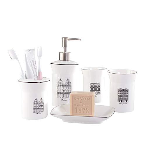 WHSGBB Fünfer Badzubehör Mit Moderner Kommode Aufbewahrungsbox Kit Inklusive Lotionflasche, Zahnbürste Box, Tasse Und Seife Box-Set