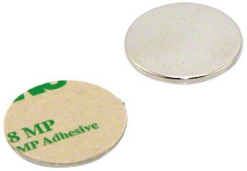 Magnet Expert® 25mm diamètre x 2mm N42 néodyme adhésif aimant, 3,5kg force d'adhérence, Sud, pack de 2