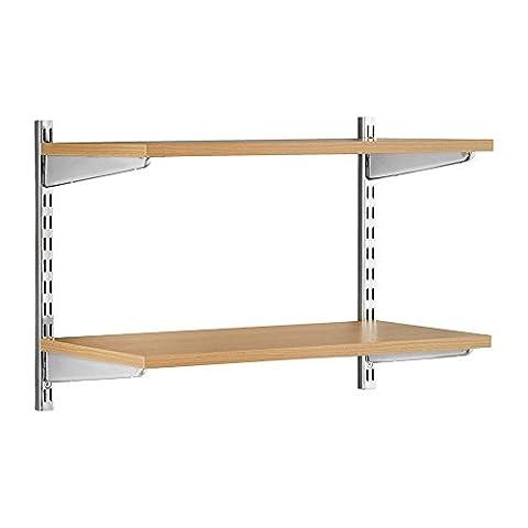 Stabiles Wandregalsystem Twin32 - Wandregalset in Chrom/Eiche ideal für Wohnzimmer, Büro, Garage und Küche- 2 x 430 mm Wandschienen, 2 x Regalfachböden MDF beschichtet, 4 x Regalträger W900 x D300 mm