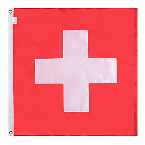 Lixure Schweiz Flagge/Fahne 90x90cm Top Qualität für Windige Tage Nationalflagge-Durable 210D Nylon Draußen/Drinnen Dekoration Flagge MEHRWEG