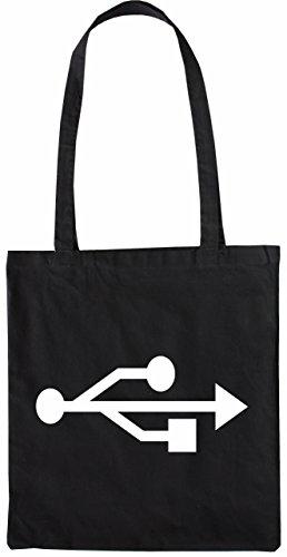 Mister Merchandise Tote Bag USB Nerd Borsa Bagaglio , Colore: Nero Nero