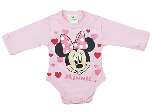 -Body, Baumwolle, Spiel-Anzug mit Druck-Knöpfen, Baby-Schlafanzug lang-arm, Minnie Mouse Motiv in Weiss, rosa oder grau, Herzen, GRÖSSE 68, 74, 80, 86, 92, 98 Farbe Rosa, Größe 86 ()