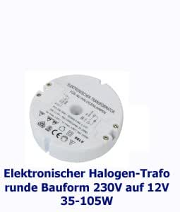 elektronischer halogen trafo 85mm rund 230v auf 12v 35. Black Bedroom Furniture Sets. Home Design Ideas