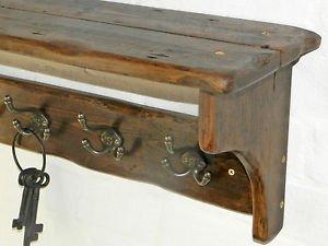rusticwoodencrafts wiederAntik-Look Massivholz Hat & Garderobe mit Ablage Cottage Landhaus-Stil mit Dreifach-Haken, 7 hooks = 98cm