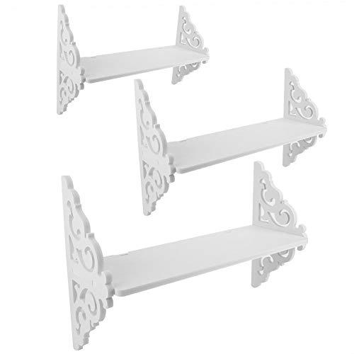 AUNMAS Lagerregal 3er-Set schwebende Bücherregal-Display Geschnitzte weiße Wandregale für Wohnkultur -