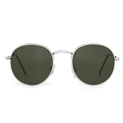 SIMINGSHUAI Polarisierte kleine runde Sonnenbrille Mirror Circle Lens Metal Frame