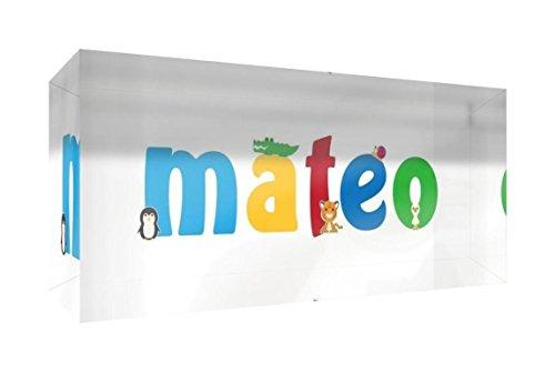Little Helper Erinnerung Deko Acryl Transparent poliert wie Diamant Stil illustrativen bunt mit dem Namen de jeune Jungen Mateo 5x 21x 2cm Grand - Mateo Poster