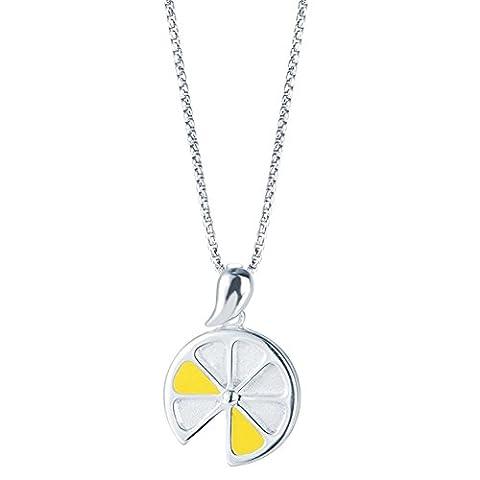 SILVERAGE Kette Damen Charms Halskette 925 Sterling Silber Zitronenscheibe Anhänger Halskette 45CM Geschenk